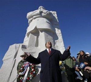 MLK III at MLK Statue