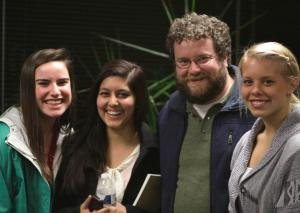 Corey O'Brien with students