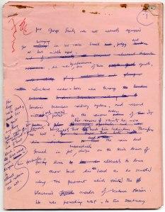 Tinker Tailor Soldier Spy pink manuscript