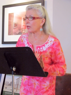 Clarinda Harriss at the Town Hall open mic and reading at Minas Gallery. (Photo Credit: Laura Shovan)