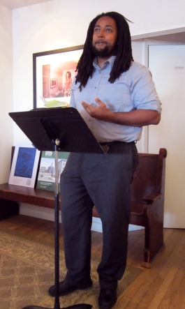 Steven Levya at the Town Hall open mic and reading at Minas Gallery. (Photo Credit: Laura Shovan)
