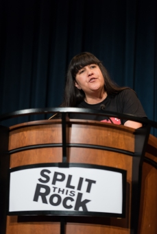 Natalie Diaz reading at Split This Rock Poetry Festival. (Photo courtesy of Split This Rock.)