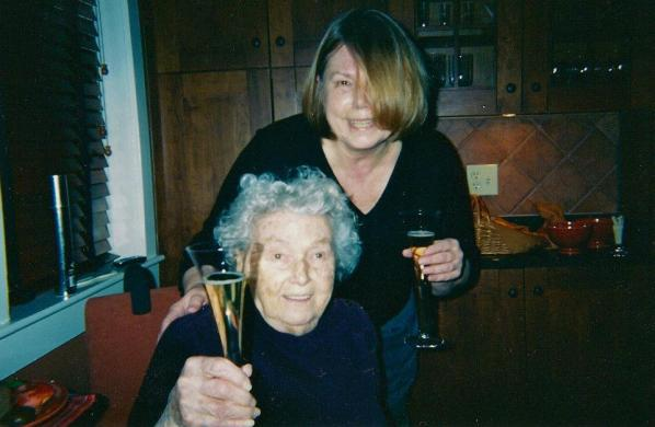 My mother and me, drinking champagne at her 90th birthday party in Ellicott City, MD (Photo: David Cash)