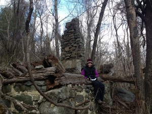 The author at an old home site in Shenandoah National Park.
