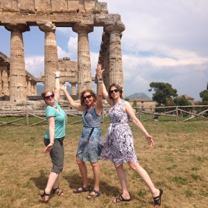 The three Grace(less)s cavort before the Temple of Athena. Photo credit: Waqas Khwaja, June 2015.