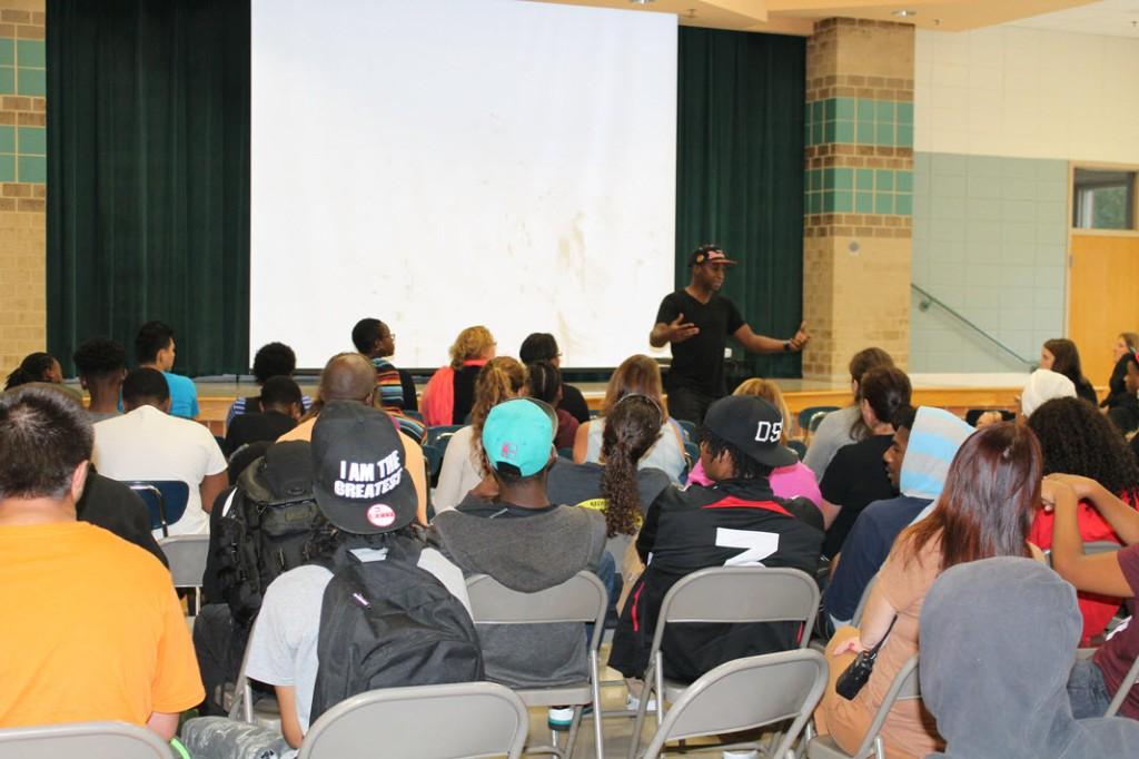 M.K. Assante captivates students at Homewood Center.
