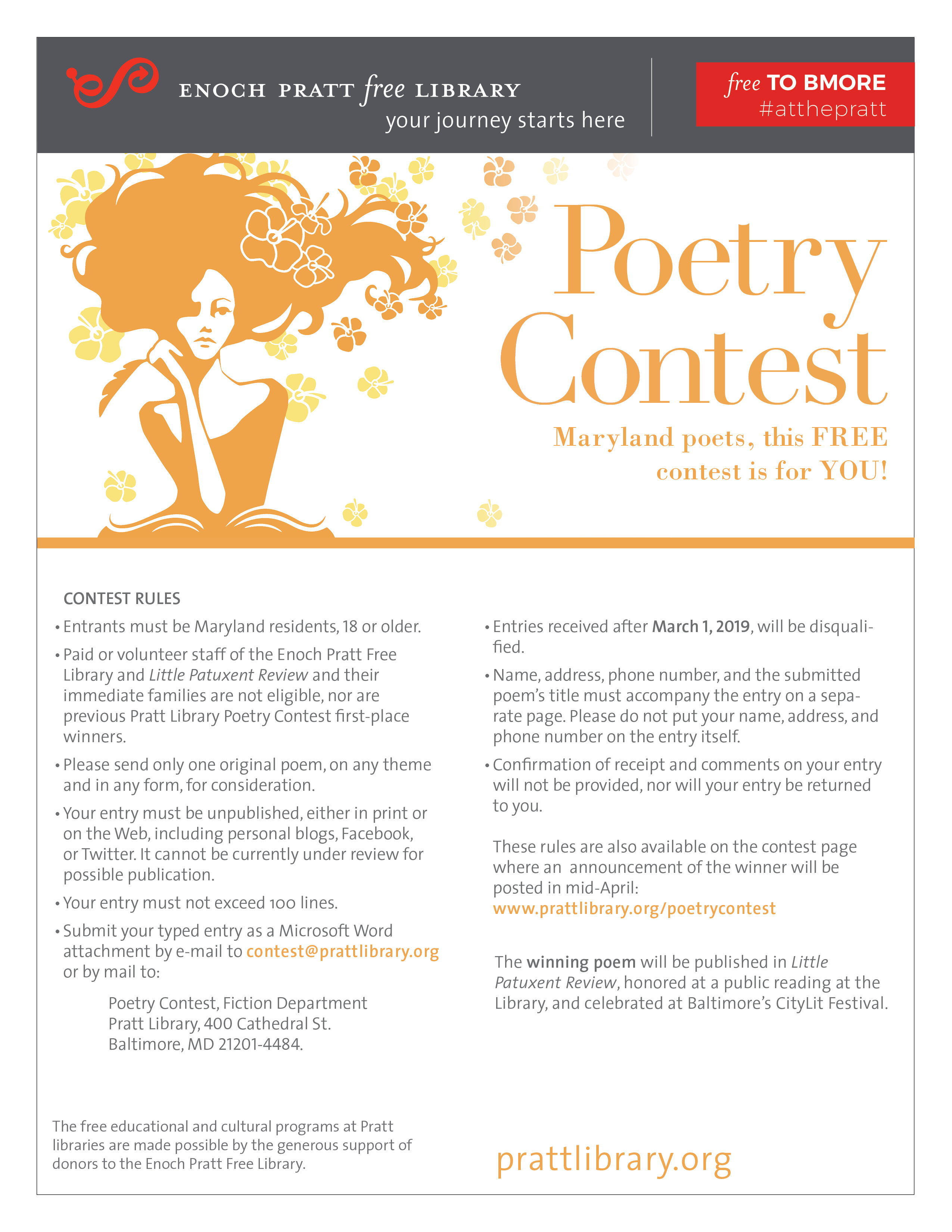 Free Poetry Contest with Enoch Pratt Free Library — Deadline March 1