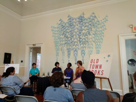 Panelists Hannah Bae, Jennifer Baker, and Caits Meissner at the Emerging Writers Festival