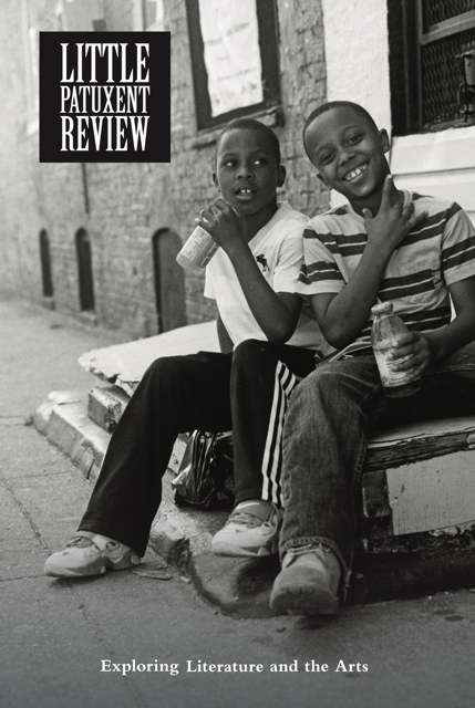 Cover of Winter 2020 issue of the Little Patuxent Review, featuring a black and white photograph of two boys sitting on a stoop. Photograph by Ben Cricchi